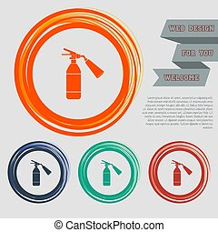 fire extinguisher Icon on the red, blue, green, orange buttons for your website and design with space text. Vector