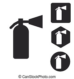Fire extinguisher icon set, monochrome