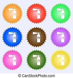 fire extinguisher icon sign. A set of nine different colored labels. Vector