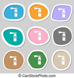 fire extinguisher icon sign. Multicolored paper stickers. Vector
