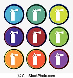 fire extinguisher icon sign. Nine multi colored round buttons. Vector