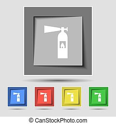 fire extinguisher icon sign on the original five colored buttons. Vector