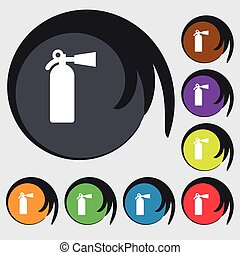 fire extinguisher icon sign. Symbol on eight colored buttons. Vector