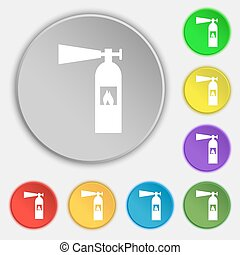 fire extinguisher icon sign. Symbols on eight flat buttons. Vector