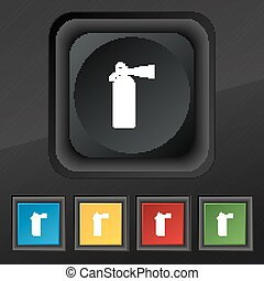 fire extinguisher icon symbol. Set of five colorful, stylish buttons on black texture for your design. Vector