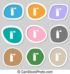 fire extinguisher icon symbols. Multicolored paper stickers. Vector
