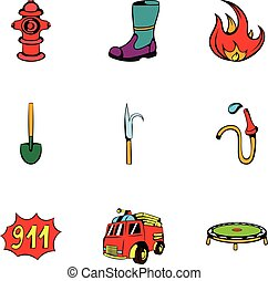 Fire extinguisher icons set, cartoon style