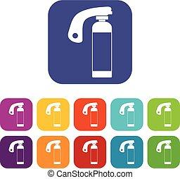 Fire extinguisher icons set flat