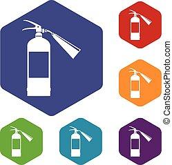 Fire extinguisher icons set