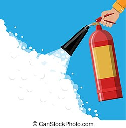 Fire extinguisher in hand with foam. Fire equipment. Vector...