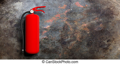 Fire extinguisher isolated on metal rusty background. 3d illustration