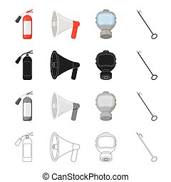 Fire extinguisher, megaphone, protective gas mask,hook. Fire Department set collection icons in cartoon black monochrome outline style vector symbol stock illustration web.