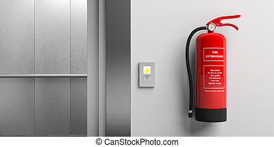 Fire extinguisher on a wall and elevator with open doors. 3d illustration