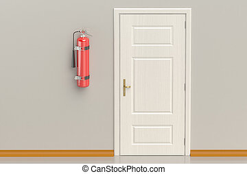 fire extinguisher on the wall