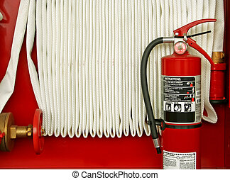 fire extinguisher - powder extinguisher and water hose, red ...