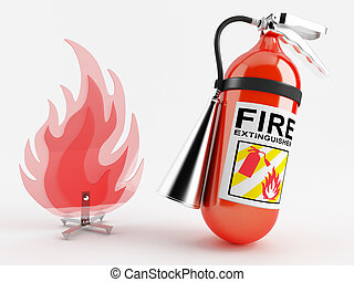Fire extinguisher - Red fire extinguisher next to the...