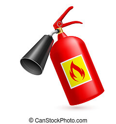 Fire extinguisher - Red fire extinguisher on white...