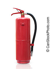 Fire extinguisher red tank isolated white background.