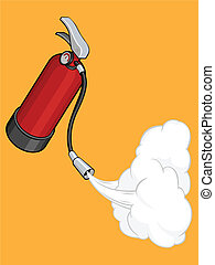 Fire Extinguisher Releasing Its Gas - An isolated vector of...