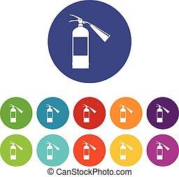 Fire extinguisher set icons