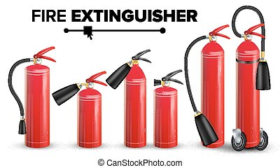 Fire Extinguisher Set Vector. Different Types. Metal Glossiness 3D Realistic Red Fire Extinguisher Isolated Illustration