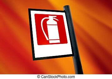 fire extinguisher sign over white background