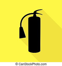 Fire extinguisher sign. Black icon with flat style shadow path on yellow background.