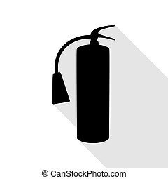 Fire extinguisher sign. Black icon with flat style shadow path.