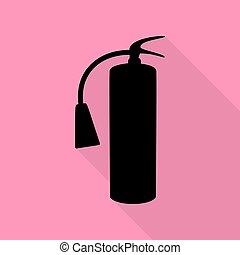 Fire extinguisher sign. Black icon with flat style shadow path on pink background.