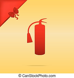 Fire extinguisher sign. Cristmas design red icon on gold background.