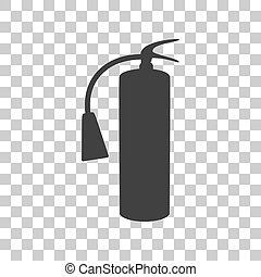 Fire extinguisher sign. Dark gray icon on transparent background.
