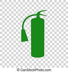 Fire extinguisher sign. Dark green icon on transparent background.