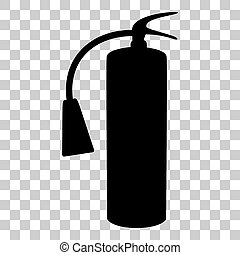 Fire extinguisher sign. Flat style black icon on transparent background.