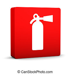 Fire Extinguisher Sign - Red fire extinguisher sign on a...