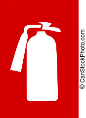 Fire extinguisher sign - Red sign with symbol of fire...
