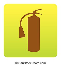 Fire extinguisher sign. Vector. Brown icon at green-yellow gradient square with rounded corners on white background. Isolated.