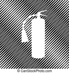 Fire extinguisher sign. Vector. Icon. Hole in moire background.