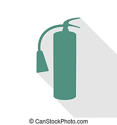 Fire extinguisher sign. Veridian icon with flat style shadow path.