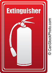 Fire extinguisher silhouette on red background. vector...