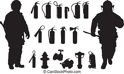Fire extinguisher silhouette - Two fireman, 11 Fire...