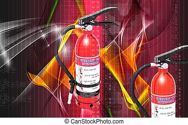 Fire extinguisher - Digital illustration of fire...