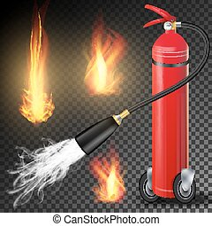 Fire Extinguisher Vector. Burning Fire Flame And Metal Glossiness 3D Realistic Red Fire Extinguisher. Transparent Illustration