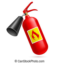 Fire extinguisher - Red fire-extinguisher isolated on white...