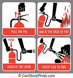 Fire extinguisher vector instruction. Warning and danger,...