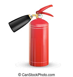 Fire Extinguisher Vector. Sign 3D Realistic Red Fire Extinguisher Isolated Illustration