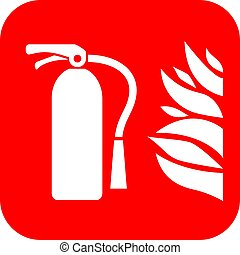 Fire extinguisher vector sign on white background