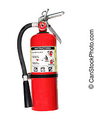 fire extinguisher with path - red fire extiguisher isolated...