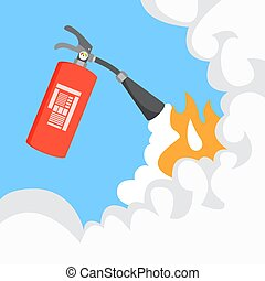 Fire extinguisher with smoke.