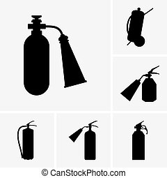 Fire extinguishers - Set of fire extinguisher icons