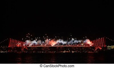 Fire fall show on Bosporus Istanbul